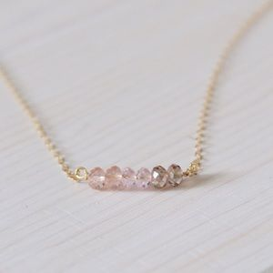 LucyMint Jewelry - 14k Gold Filled & Pink Ombre Beaded Necklace