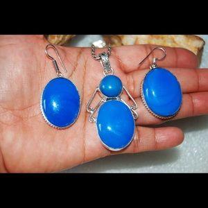 handmade & handcrafted gemstone jewelry Jewelry - Blue Chalcedony Pendant & Earring Statement Set
