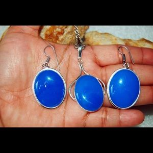 Round Blue Chalcedony Statement Pendant & Earrings