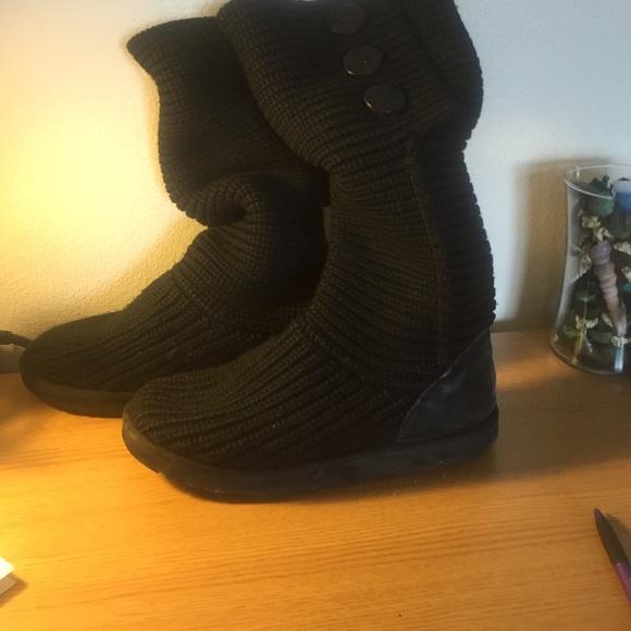 ugg black knit boots
