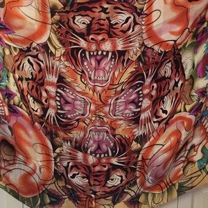 Ed Hardy 100% silk extra wide fringe scarf