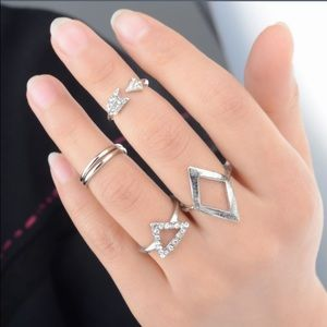 Fashion silver above knuckle ring set of 5