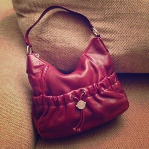 MICHAEL MK Prescott Brick Red Leather Shoulder Bag