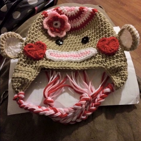 Other Crochet Valentine Sock Monkey Hat Poshmark