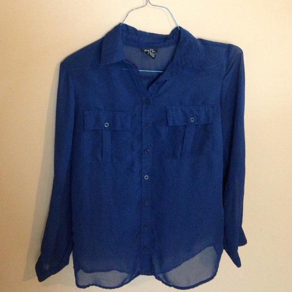 72 Off Rue21 Tops Navy Blue Button Up Long Sleeve Shirt