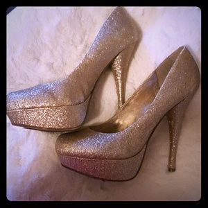 Gold glitter Bakers  heels
