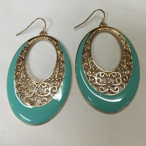 Turquoise and Gold Filigree Earrings