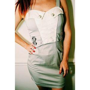 Dresses & Skirts - Unique Sexy Grey & White Strappy BodyCon Dress