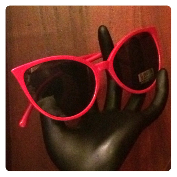 1433477ba2ef 65% off Accessories Red Skinny Stems Cat Eye Sunglasses