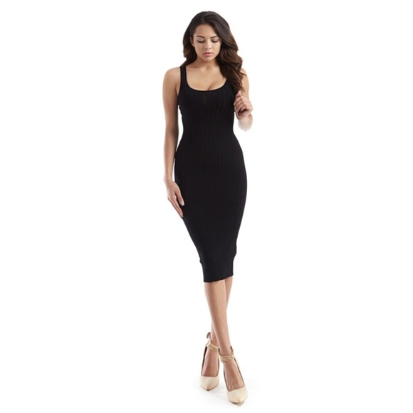 166ddfeed3a7b Dresses | Medium Black Ribbed Knit Bodycon Midi Tight Dress | Poshmark