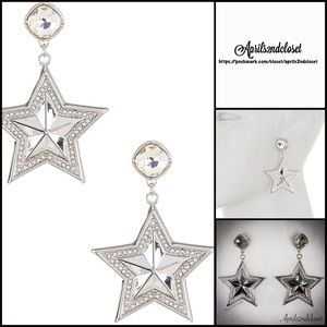 ❗️1-HOUR SALE❗️EARRINGS Crystal Silver Pave Stars