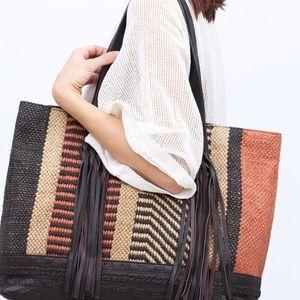 Zara New Jute and Leather Shopper Tote bag ❤️
