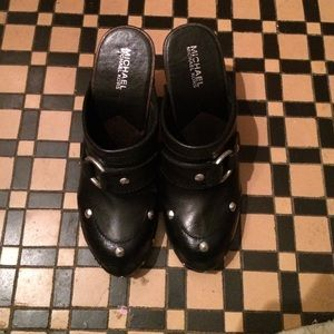 Authentic black leather MK clogs