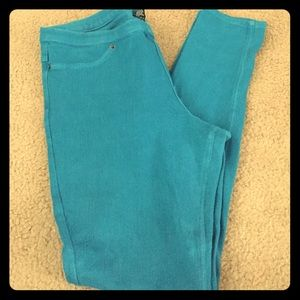Turquoise Blue Hue Denim Leggings