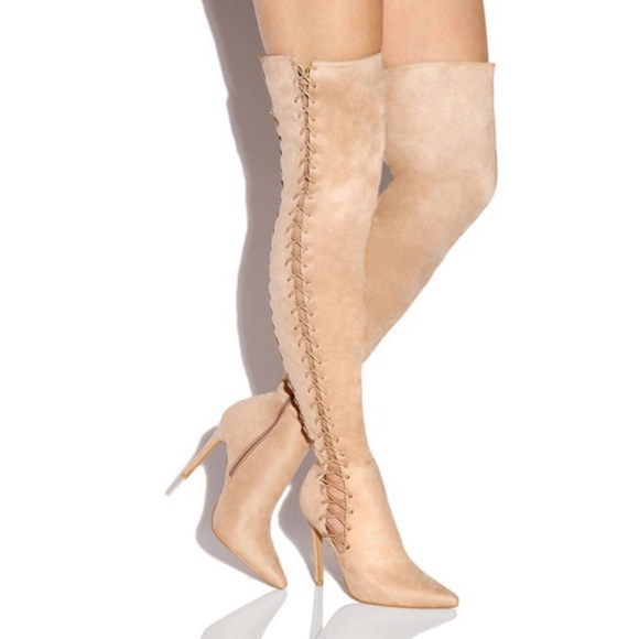 0607af1fa98 Faux Suede Nude Lace Up Thigh High Heel Boot