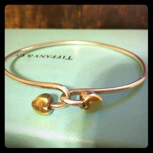 Tiffany Co. Sterling Silver & Gold heart bracelet