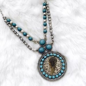 Core Jewelry - Silver & Turquoise Boho Style Feather Necklace