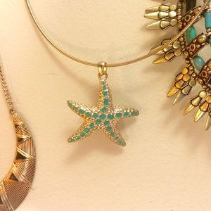 HP Gold & Teal Starfish Necklace✨