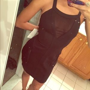 black dress with mesh cut outs