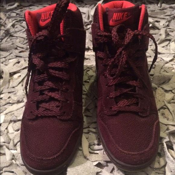 Nike Sky Hi Dunks- Deep Burgundy Wedge Sneakers. M 56b513932de5123083017d4c 293f0e7ef