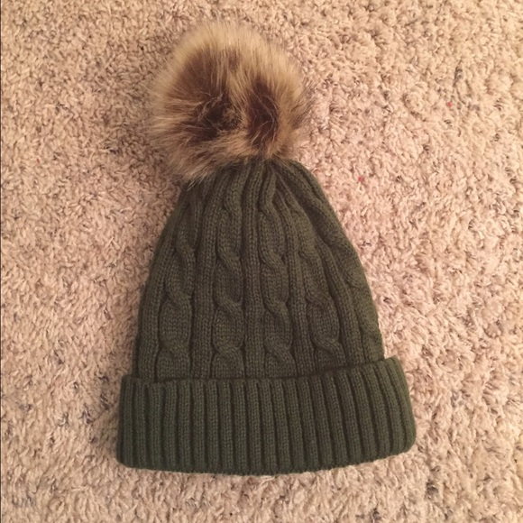 647b0c78e Olive Green Fur Ball Winter Hat