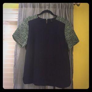 JCrew tweed sleeved top, worn once!