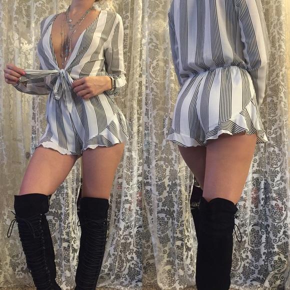 83f15c3ce5e ️Plunge V Stripe Long Sleeve Romper Jumpsuit