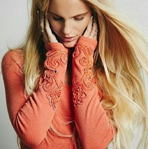 {free people} orange lace cuff thermal NWOT