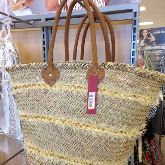 43% off Merona Handbags - Target Gold Sequin Fringe Straw Beach ...