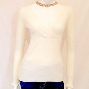 Tapemeasure Sweaters - Women's White V Neck Sweater.