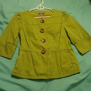 Ann Taylor XS green cropped trench