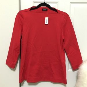 kate spade Tops - New Kate Spade Red Slip Neck Top 3/4 sleeve top