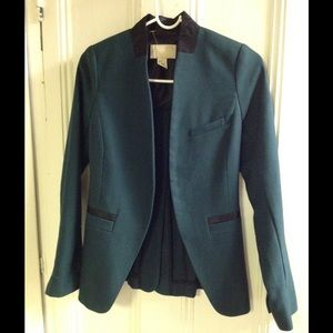 Dark green blazer with leather detail