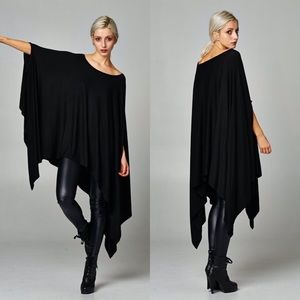 """Contemporary"" Loose Poncho Tunic Top"
