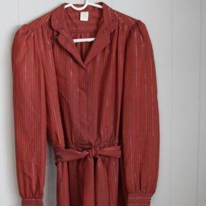 Burgundy Dress Vintage 70-80's