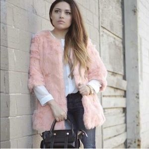 Sheinside  Jackets & Blazers - Peach / Pink Fur Coat