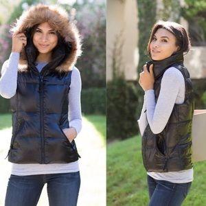 S13 girls Camo Snowcat Down Vest With Faux Fur Hood