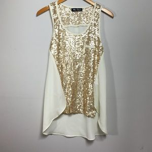 Miss Finch Tops - Champagne Sequins Top