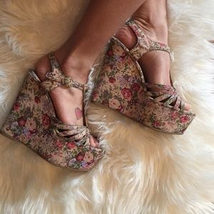 Jeffrey Campbell floral wedge sandals