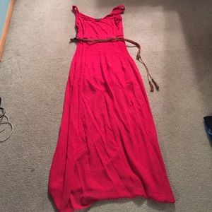 Red Maxi with pleated bottom
