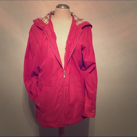 Neyelle - Neyelle M rain coat in dark pink with plaid from Kim's ...