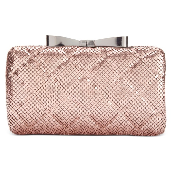 3b3189e4c Rose Gold Quilted Metal Mesh Clutch