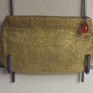 Metallic 1960 clutch Bag with Bakelite zipper pull