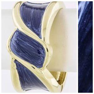 Custom Jewelry - D35 Thick Hand Painted Blue & Gold Enamel Bracelet