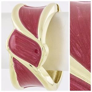 Custom Jewelry - D39 Thick Hand Painted Red & Gold Enamel Bracelet