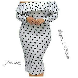 Sexy polka dot off the shoulder bodycon dress