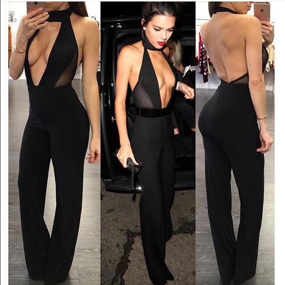 b3ff000aba7 Kendall Jenner Black Plunge Halter Jumpsuit M