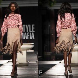 Style Mafia Dresses & Skirts - Beige soft suede fringe skirt neoprene light