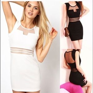WHITE mesh cut out Bodycon mini dress