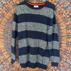 BUNDLE ME FREE Blue Striped Oversize Sweater